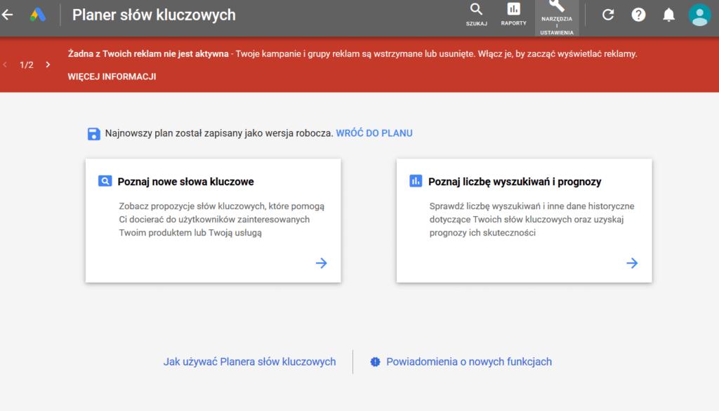 google adwords planner słów kluczowych