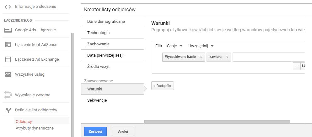 Google Analytics listy odbiorców